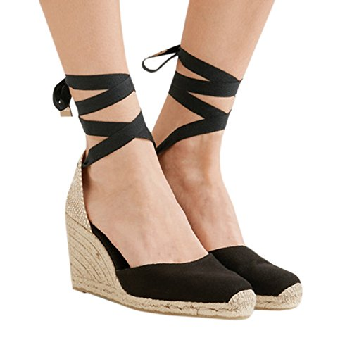 a348c30c608 Syktkmx Womens Lace Up Espadrille Platform Wedge Sandals Closed Toe Ankle  Wrap Mid Heel Summer Dress