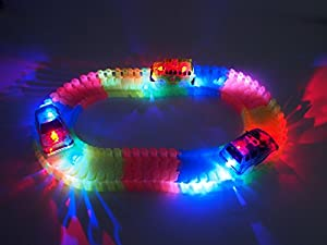 Track Race Cars 3 Pack, 5 LED Light Up Replacement Glow In The Dark Car |Track Accessories| Police Car, Dinosaur School Bus, Track Train, Compatible With Magic Tracks and Other Tracks Boy Girl.