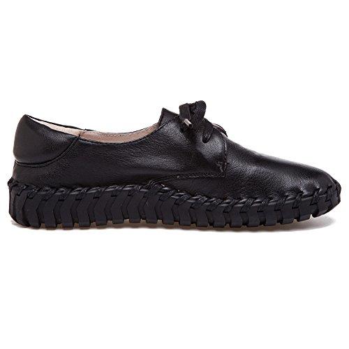 De Comodidad Trabajo Moda Mujeres Shenn Zapatos Negro Zapatillas Cuero Espacio Deporte w0X5tqqOx