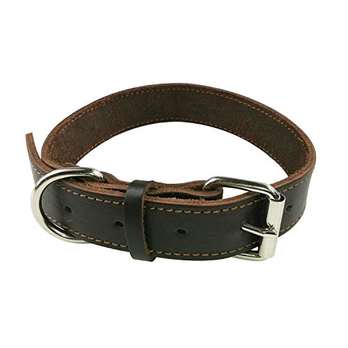 SACRONS-Leather Dog Collar/Premium Handcraft/Soft and Supple,Durable/Brown
