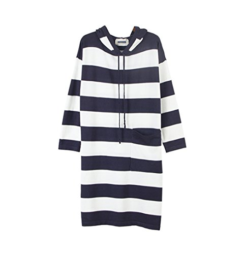 Pullovers Pockets Long Blue Sleeve Size with Midi Stripes Plus Hoodie Women's Dress w6qSZXxTZ