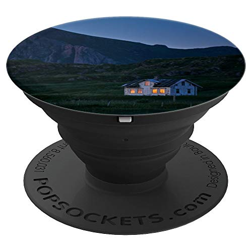 Night Scene with Lighted Cottage in Mountains - PopSockets Grip and Stand for Phones and Tablets