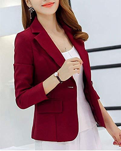 lunga Elegante Blazer Women Fitting formale Burgunderrot manica Slim ufficio donna stile bavero giacca Moda autunno Primavera American Affari Moderna wIWgSqWx5