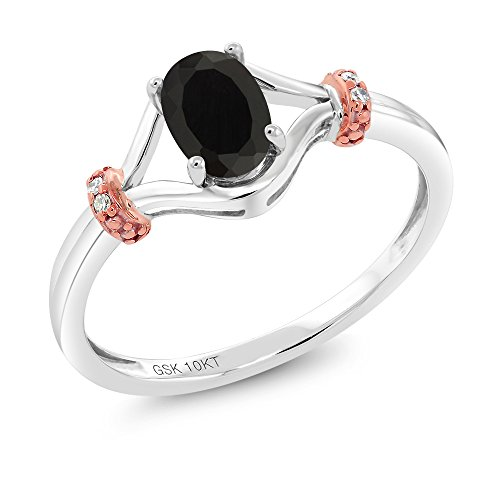 Gem Stone King 10K 2 Tone Gold 0.42 Ct Oval Black Onyx and Diamond Engagement Ring (Size 7)