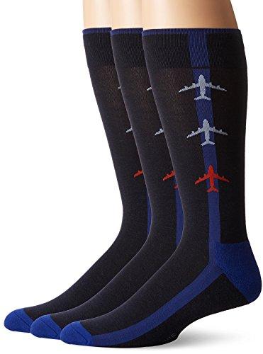 Hue Men Dress - HUE Men's Jetsetter Crew Sock (3-Pack), Navy, Sock Size 10-12/Shoe Size 6-13