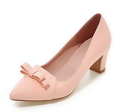 Damen Ziehen auf Spitz Zehe Mittler Absatz PU Leder Rein Pumps Schuhe, Silber, 33 VogueZone009