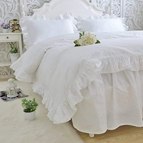 FABRICALICIOUS LINEN Frilled Duvet Cover 3 Qty with Beautiful Ruffle Edge Corners, White, Full/Queen, 100% Cotton, 400 Thread Count, Comforter/Duvet Protective Cover