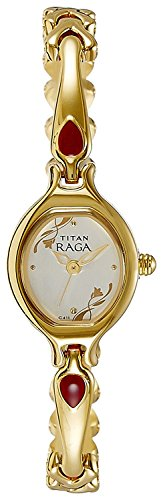 (Watches for Women, Gifts for Her - Titan Raga Womens Analog Quartz Watch - Bangle Jewelry Style Wristwatch - Gold Stainless Steel Strap - Gold Oval Face with Red)