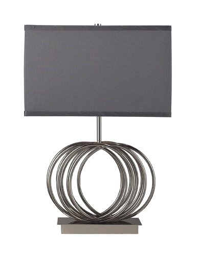Dimond D2057 16-Inch Width by 22-Inch Height Ekersall Table Lamp in Chrome with Grey Faux Silk Shade and Grey Fabric Liner