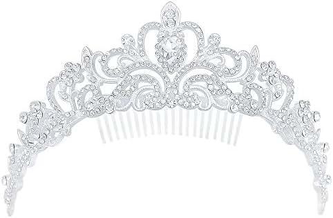 Fashion Women Bling Crystal Bridal Princess Tiara Crown Hair Comb for Weddings Parties Proms