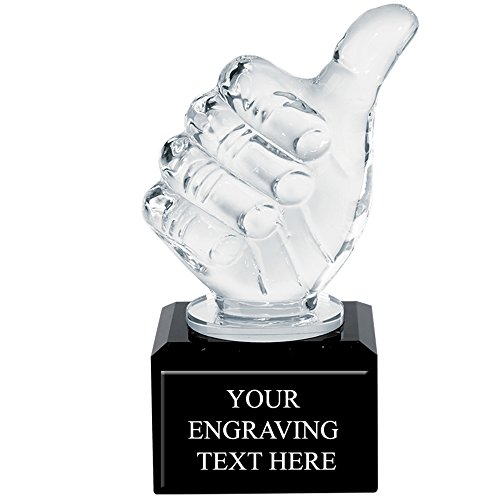 Corporate Recognition Trophies - Engraved Thumbs Up Crystal Trophy Award Prime by Crown Awards