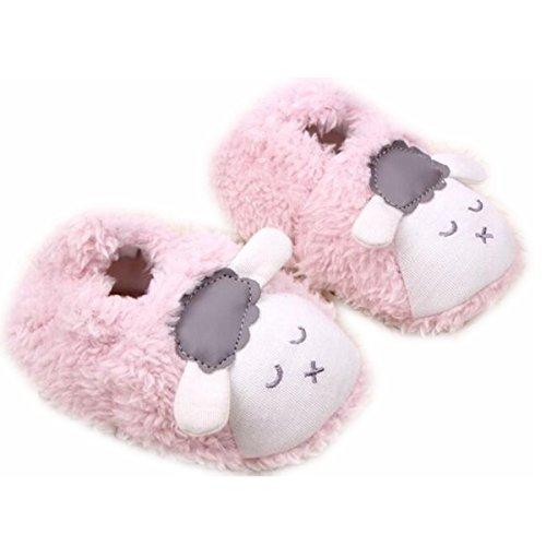 M2cbridge Baby Plush Animal Sheep Booties Warm Slipper (11cm, Pink)