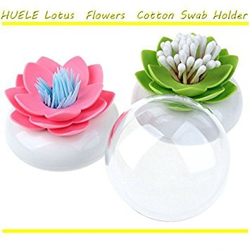 Buorsa 2-pack Lotus Flowers Cotton Swab Holder, Small Q-tips Toothpicks Storage Organizer,Bathroom Vanity Canister(GREEN+PINK)