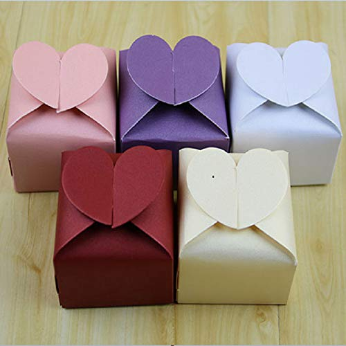 - Xiaogongju Colors Love Heart Candy Box Pink Purple White Red Wedding Party Favors Candy Gifts Boxes Pink 100pcs