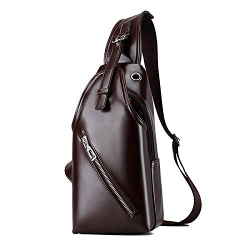 Messenger Bag Casual Sport Utility Business Package Shoulder Bag Chest Bag Brown Men Laidaye