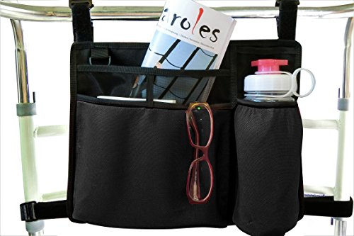 Folding Walker Bag, Wheelchair Side Pouch, Rollator Pouch, Bed Rail Organizer, Insulated Bottle Holder, Zipper Pocket, Key Holder Long Strap, Black (Side Walker Pouch)