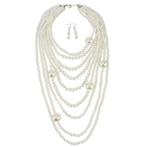 KOSMOS-LI Women's Popular Layered Statement Simulate Ivory Pearl Strands Long Necklace with - Layered Pearl Necklace
