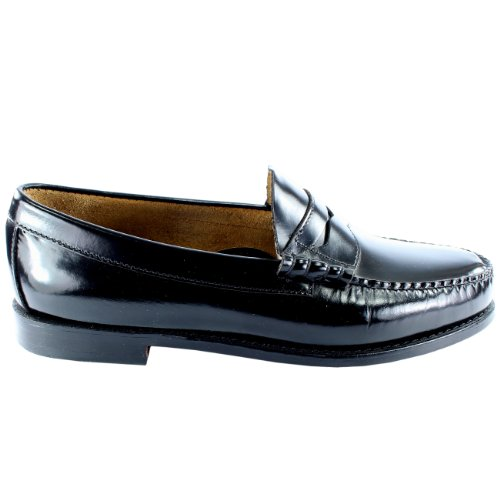 Mens G.H. Bass Larson Slip On Smart Penny Loafer Flat Leather Shoes Black ZQE8PzaXId