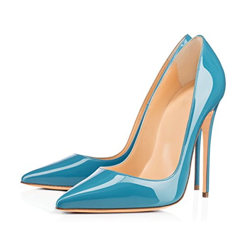 Onlymaker Pumps Pointed Toe Heel Slip Blue Court Women's Dress Shoes High Glazed Stilettos On ArzHTAqw1