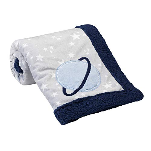 Lambs & Ivy Milky Way Gray/Blue Stars and Planet Minky/Sherpa Soft Baby Blanket