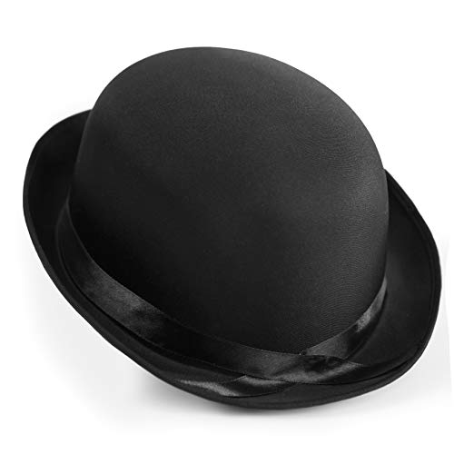 Squirrel Products Black Bowler Derby Hat - Satin Style - One Size with Elastic Band ()