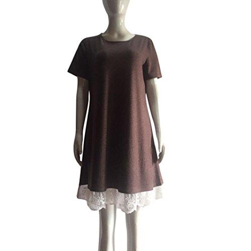 Huhu833 Damen Kleid Damen Casual OAusschnitt Kleid Spitze Kurzarm ...
