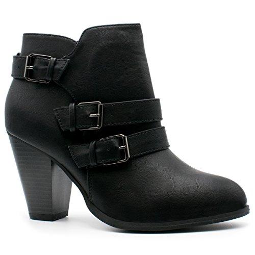Premier Standard - Women's Buckle Strap Block Heel Ankle Booties, TPS Camila-64 v4 Black Size 8 by Premier Standard
