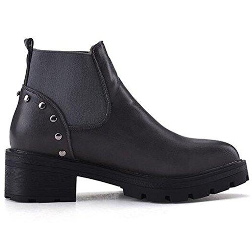 Platform Boots Studded Summerwhisper Ankle Low Chunky Rivets Trendy Heel Gray Elastic Women's Short High wxvHU6q