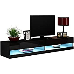 "MEBLE FURNITURE & RUGS Vigo New 180 LED Wall Mounted 71"" Floating TV Stand (Black)"