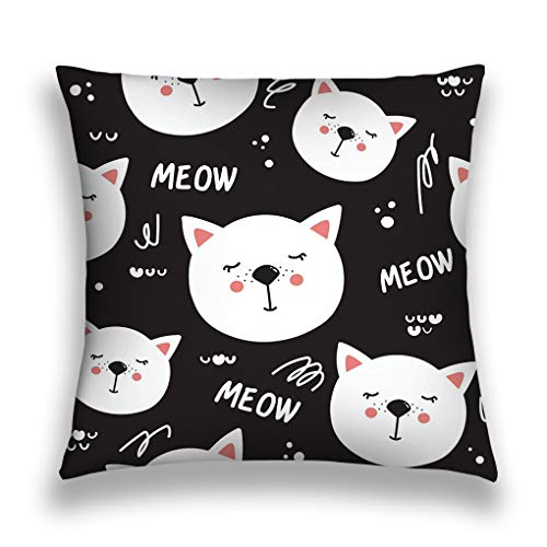 YILINGER Pillow Case Sofa Bed Pillow Case Cover 18 X 18 Inch Twin Sides Sleeping Cats Black White Sleeping Cats Black Whites Decorative Wallpaper Animals Happy]()