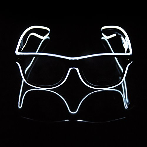 iChase Light Up Party Glasses ,EL Wire Fashion Neon Electroluminescent Flashing LED Sunglasses with Battery Case Controller & 4 Modes for Halloween Christmas Birthday Party Favor - Sunglass Modo