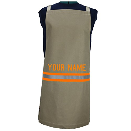 Fully Involved Stitching Personalized Firefighter Cooking Apron Tan with Orange (Firefighter Apron)