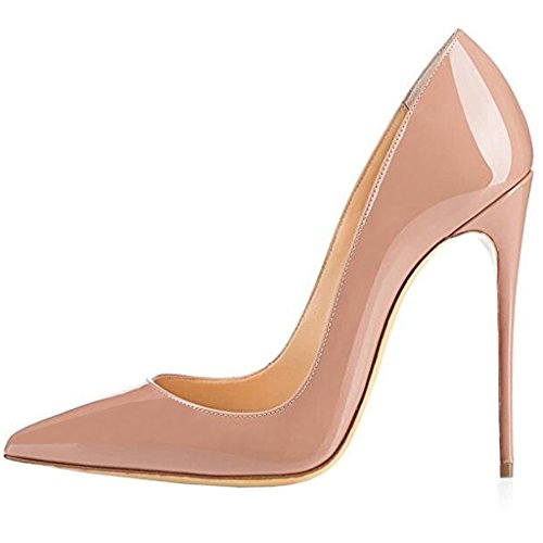 Lovirs Womens Nude Pointed Toe High Heel Slip On Stiletto Pumps Large Size Wedding Party Basic Shoes 9 M US