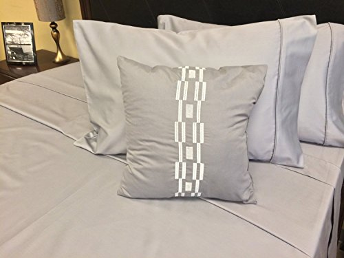 Gray Striped Cotton Italian (Royal Hotel's Solid Gray 550-Thread-Count 3pc Full / Queen Duvet-Cover 100-Percent Cotton, Sateen Solid)
