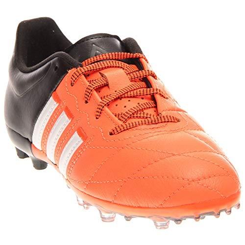 adidas Boys Ace 15.1 FG/AG J Leather Soccer Athletic Cleats Orange ()