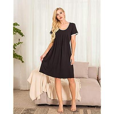 Ekouaer Women's Nightgown Short Sleeve Sleepwear Comfy Sleep Shirt Pleated Scoopneck Nightshirt S-XXL at Women's Clothing store
