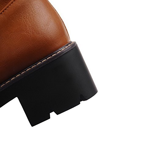 zippers Blend Allhqfashion Closed Boots Brown Solid Women's Toe Round Materials zBAx5FHnB