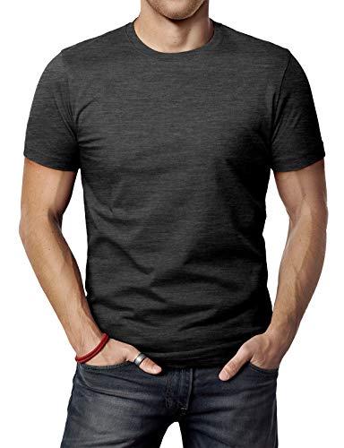 H2H Mens Comfy Textile Cotton Blend Round Neck Basic T-Shirt Charcoal US M/Asia L - Neck Mens Round