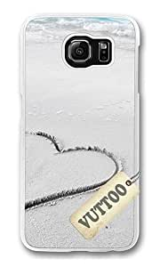 Samsung S6 caso, con el corazón en Arena de la playa VUTTOO suave para Samsung Galaxy S6 - PC transparente