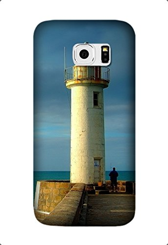 Personalized Protective Hard Textured Lighthouse Cell Phone Case Cover Compatible with Samsung Galaxy S6 Edge Design By [Laura Jordan]