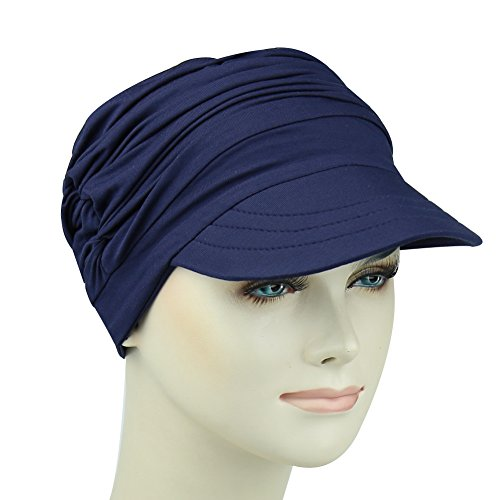 Cotton Newsboy Beanie For Cancer Women Stylish Cap Summer Picnic Headwear For Hair Loss by FocusCare (Image #3)
