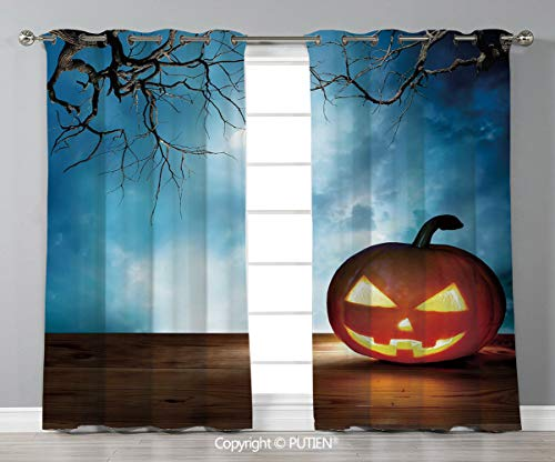 Grommet Blackout Window Curtains Drapes [ Halloween,Traditional Celebration