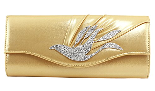Bag Colory PU Women's Chain Clutch Gold Detail Strap Diamante 0z40Wvn