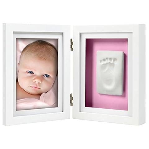 Pearhead Babyprints Newborn Baby Handprint and Footprint Desk Photo Frame & Impression Kit, White (Imprint Baby)