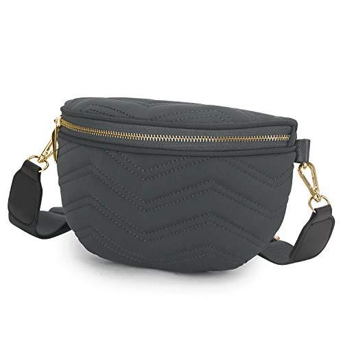 Wind Took Damen Brusttasche Crossbody Tasche Mode-Hüfttasche Umhängetasche Bauchtasche Gürteltasche Daypack für Party Reise Outdoor, Grau