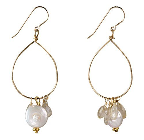 Earrings Disc Vermeil (Freshwater Pearl Hoops on 14K Gold Filled French Earwire)