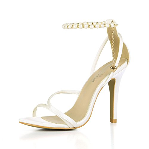 Best 4U? Women's Summer Sandals Comfortable Faux Silk Basic Pumps Straps Peep toe 10CM High Heels Rubber Sole Pendant Chain Wedding Shoes White SZsZV8