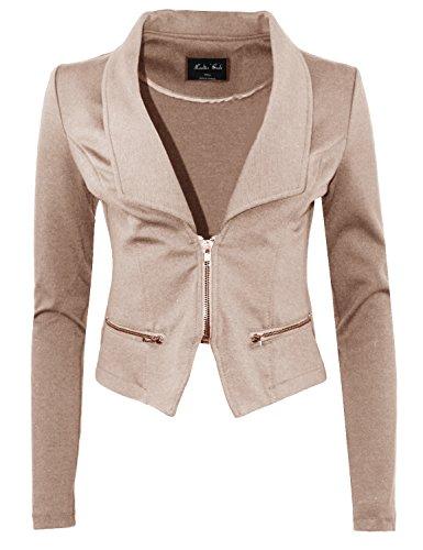 Business+Office+Wear+Long+Sleeve+Zip+Front+Blazer+Khaki+M+Size