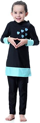 PUREZONE Girls Muslim Swimsuit Modest Swimwear for Kids Full Cover Hijab Burkini Athletic Bathing Suit Summer