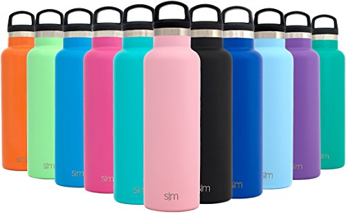 Simple Modern 20oz Ascent Water Bottle - Vacuum Insulated Double-Walled Standard Narrow Mouth 18/8 Stainless Steel Swell Flask with Handle Lid - Powder Coated Hydro Travel Mug - Blush